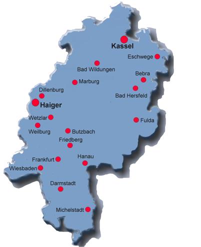 Karte Hessen mit Seminarorten