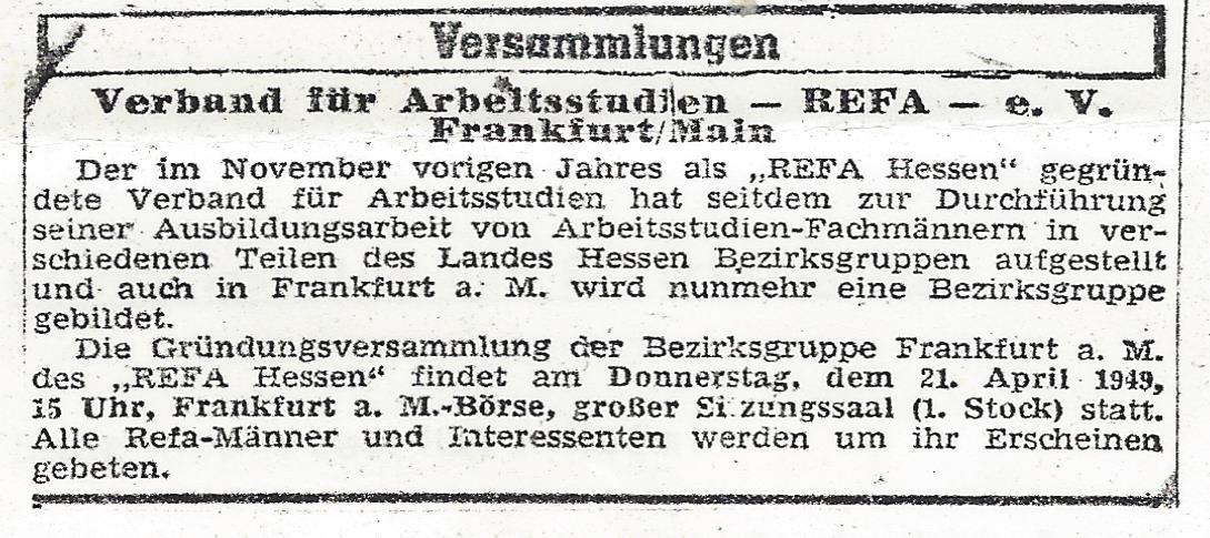 Zeitungsausschnitt REFA in Frankfurt